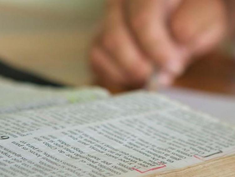 A closeup of the Bible