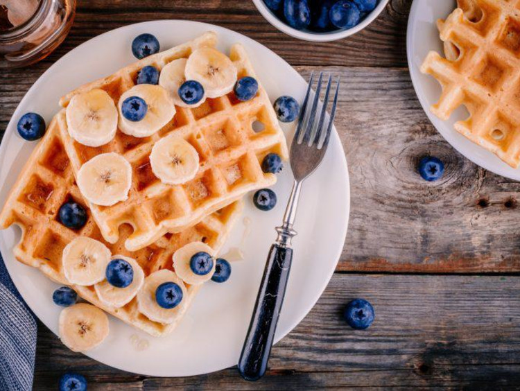 Waffles on a table