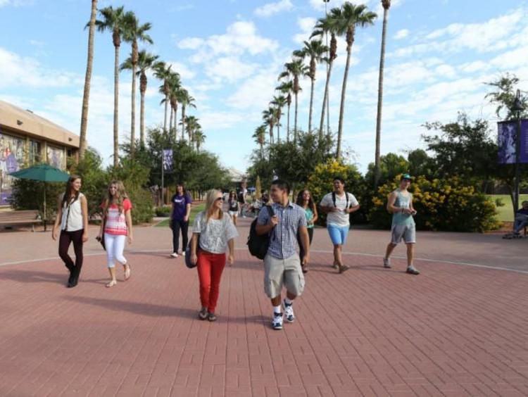 people walking on GCU campus