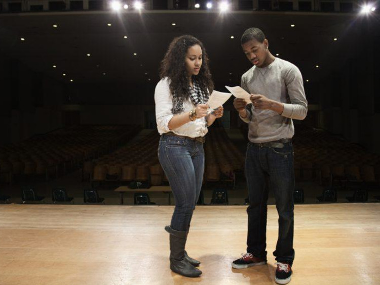 Students preparing for an acting audition