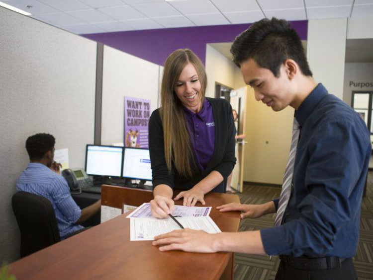 Students working at an office