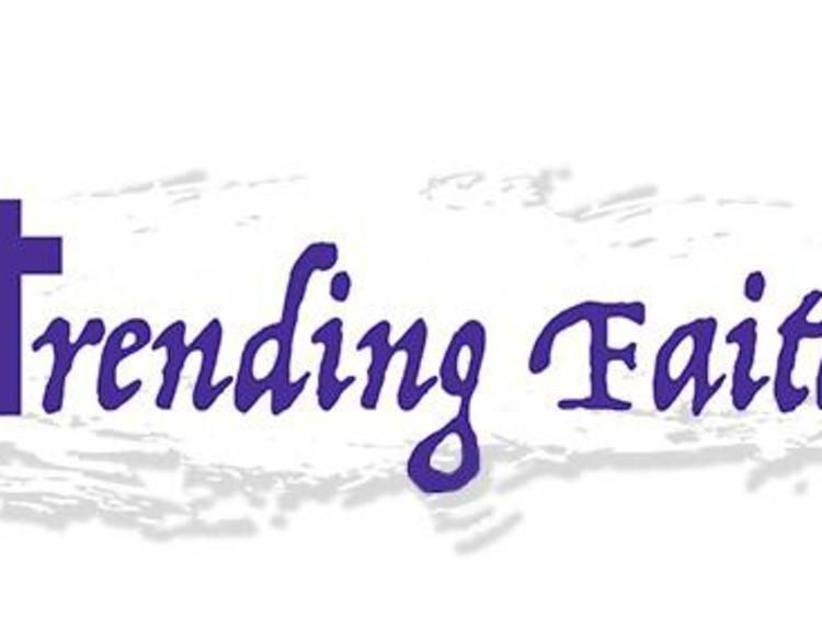 Trending faith logo with purple text