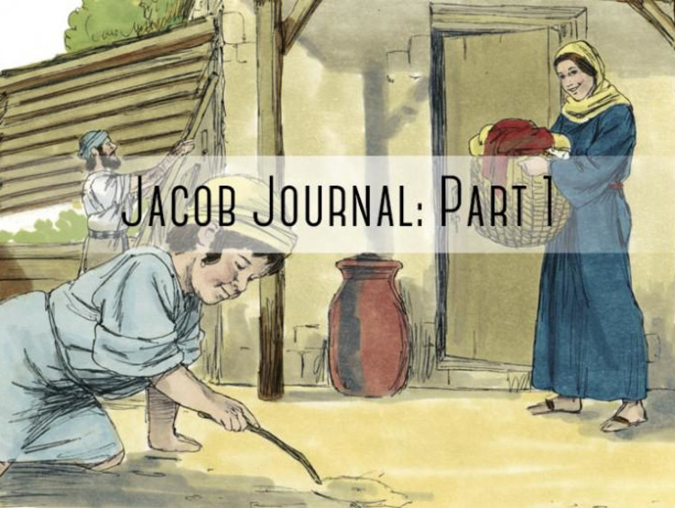 "kid playing in dirt with ""jacob journal part 1"" written on it"