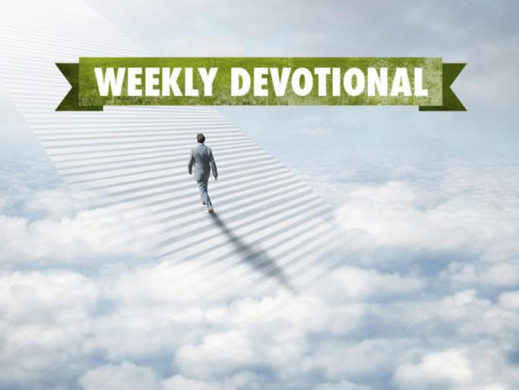 A man walking in the clouds under the Weekly Devotional banner