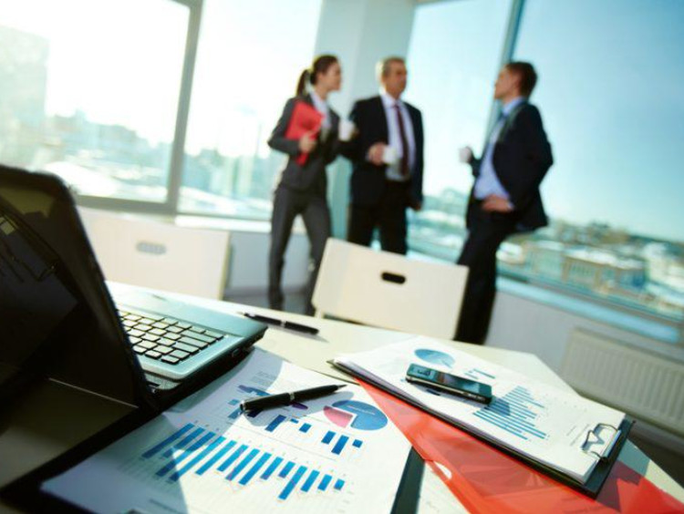 Colleagues meet to discuss business analytics