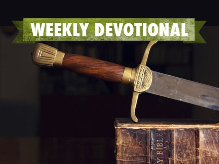 A sword under the Weekly Devotional banner