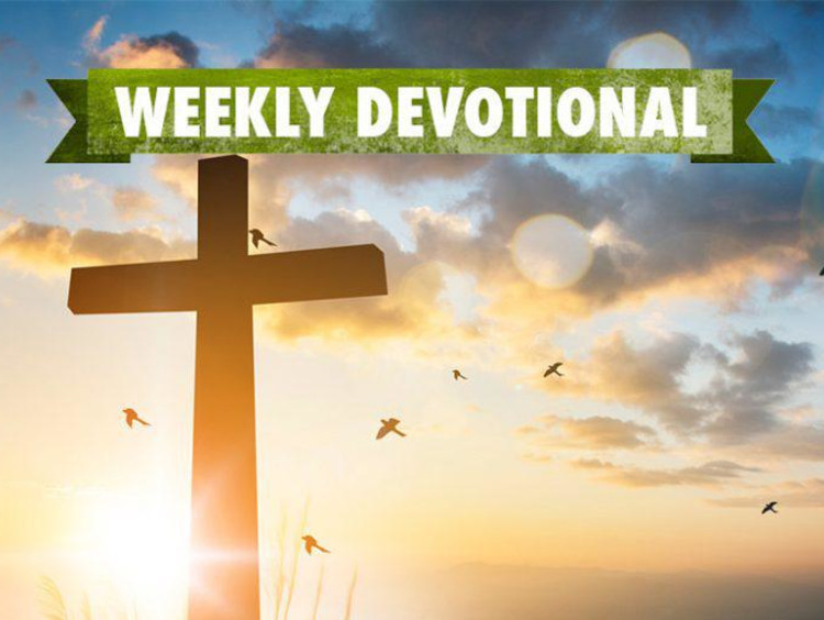 Weekly Devotional: Cross in front of sunset