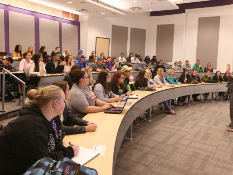 GCU students in a lecture hall on campus