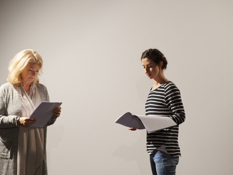 two people rehearsing for a play