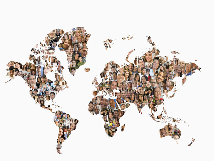map of the world filled in with people's faces
