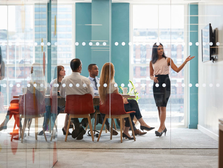 woman presenting in a business setting