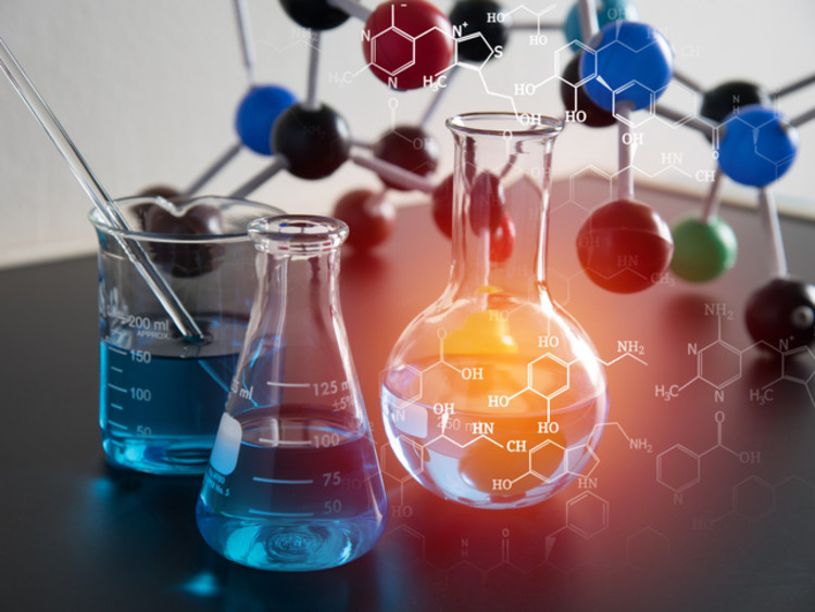Chemistry materials on a laboratory desk