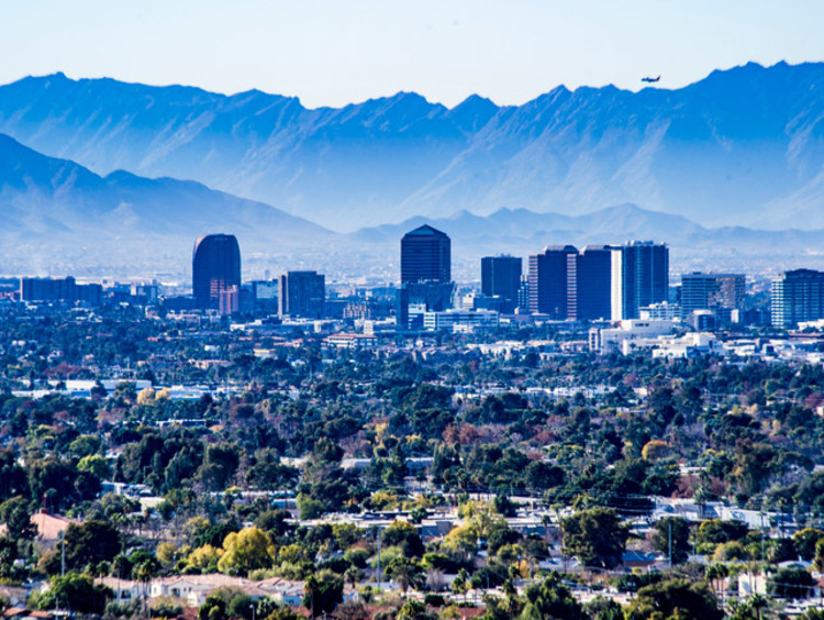 Phoenix skyline with mountains in the background