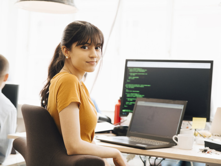 female computer programmer working in office