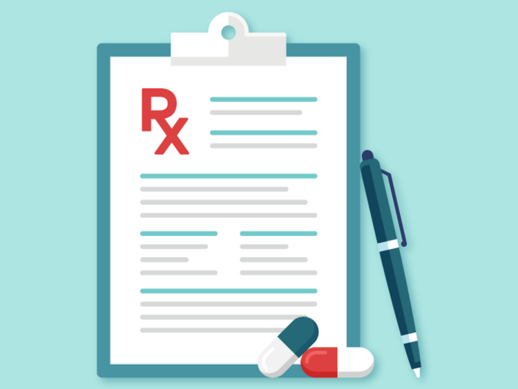 RX prescription featured on clipboard