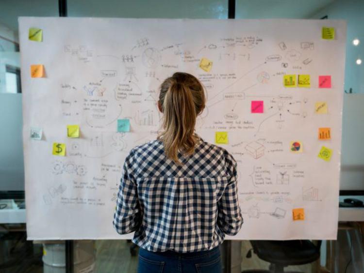 entrepreneur looking at white board