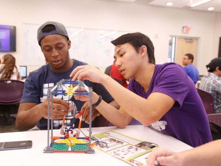 STEM students building something
