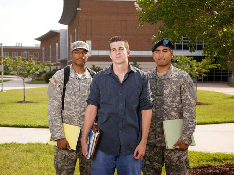 Military students on GCU's campus