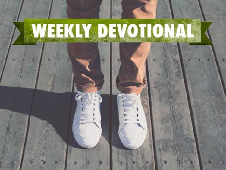 A pair of shoes under the Weekly Devotional banner
