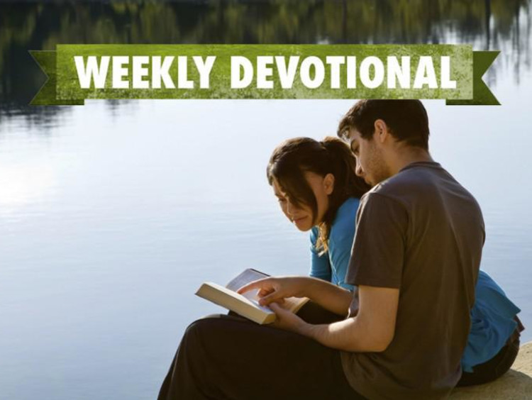 A pair of students under the Weekly Devotional banner
