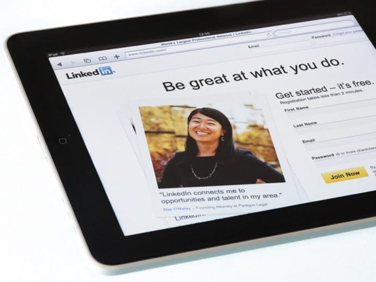 LinkedIn on a tablet