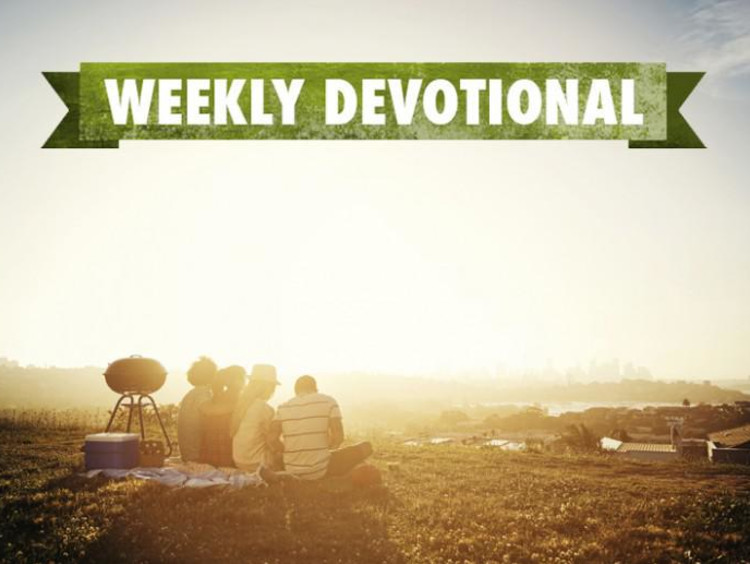 A summer sunset under the Weekly Devotional banner