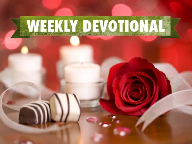 Valentine's chocolates and flowers under the Weekly Devotional banner
