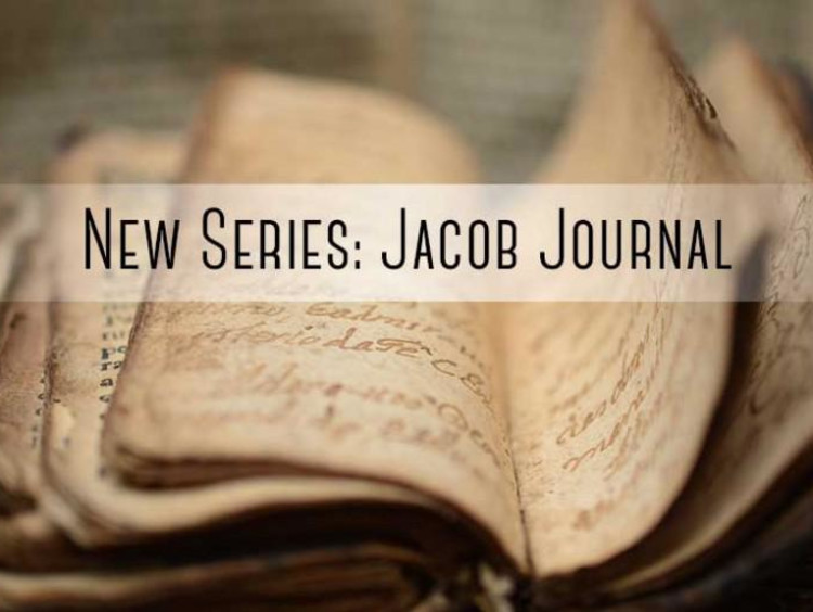 "Bible with ""new series: jacob journal"" written over it"