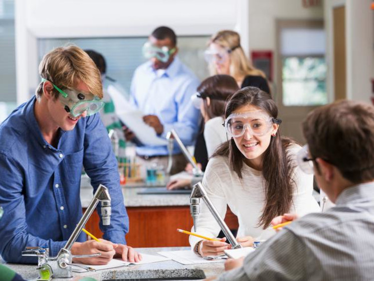 Chemistry class doing a lab