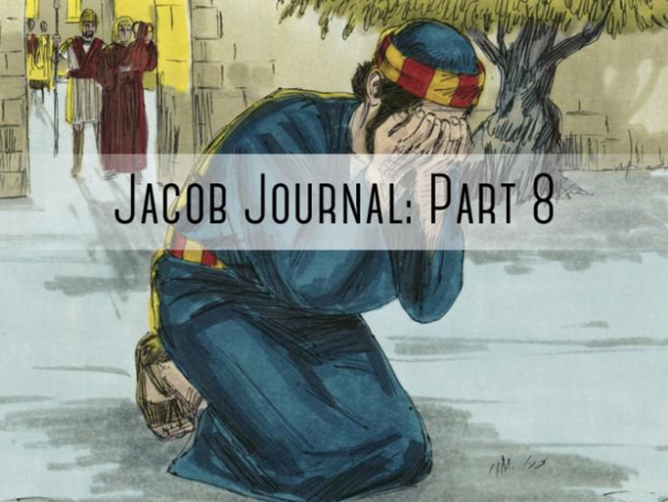 "person with head in hands ""jacob journal part 8"" pasted over it"
