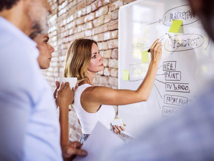 content development team strategizing marketing materials