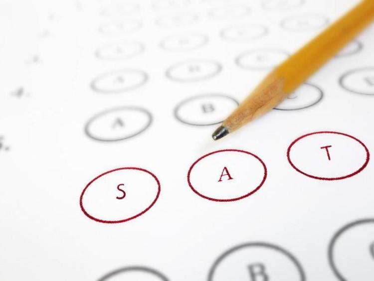 """Bubbles on a test scantron reading """"SAT"""""""