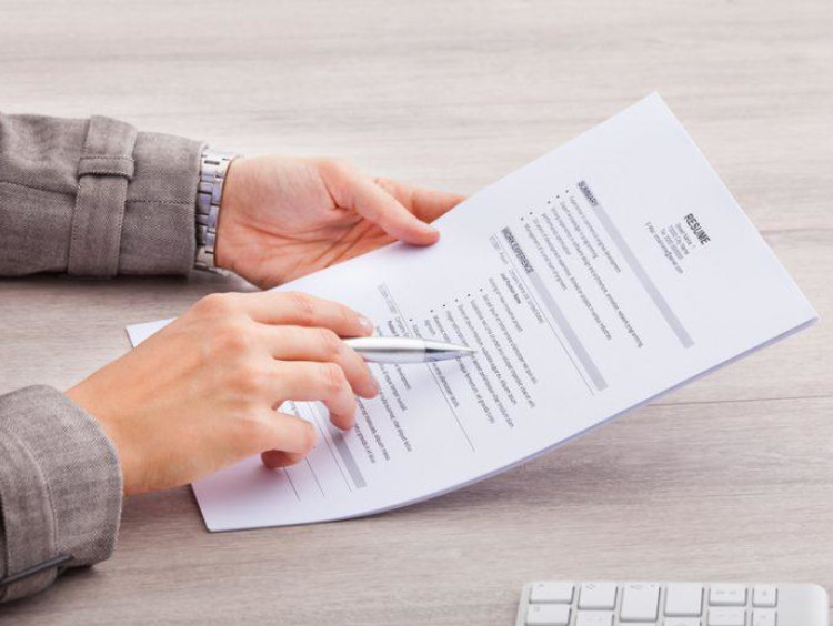 A resume being reviewed for a job