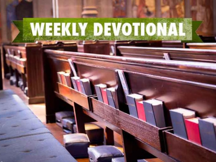 Weekly devotional text layered on top of image of wooden church pews