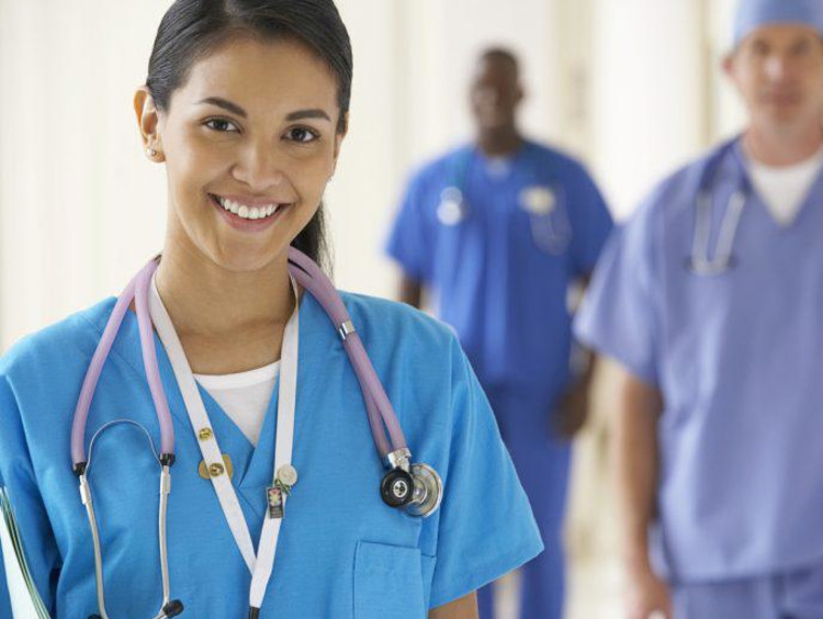 Healthcare people in scrubs