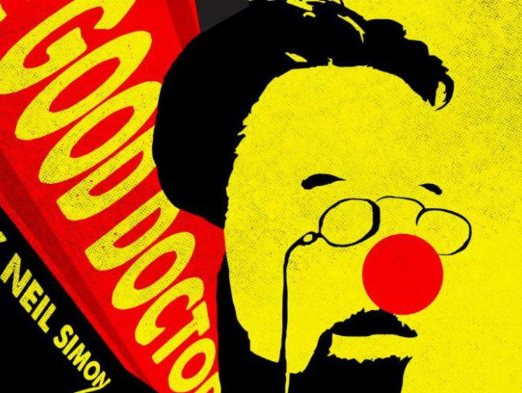 Yellow poster art for the Good Doctor with a man wearing a red clown nose