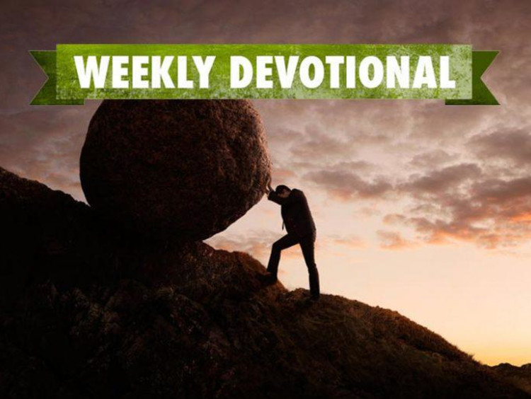 person pushing boulder with weekly devotional banner