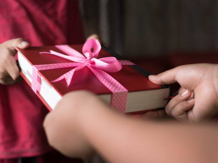 Woman receiving a present