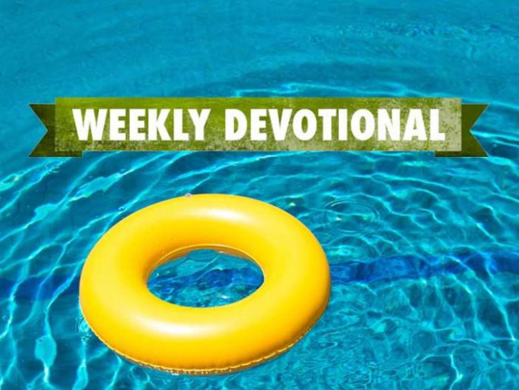 Yellow round pool float in pool with weekly devotional text layered atop image