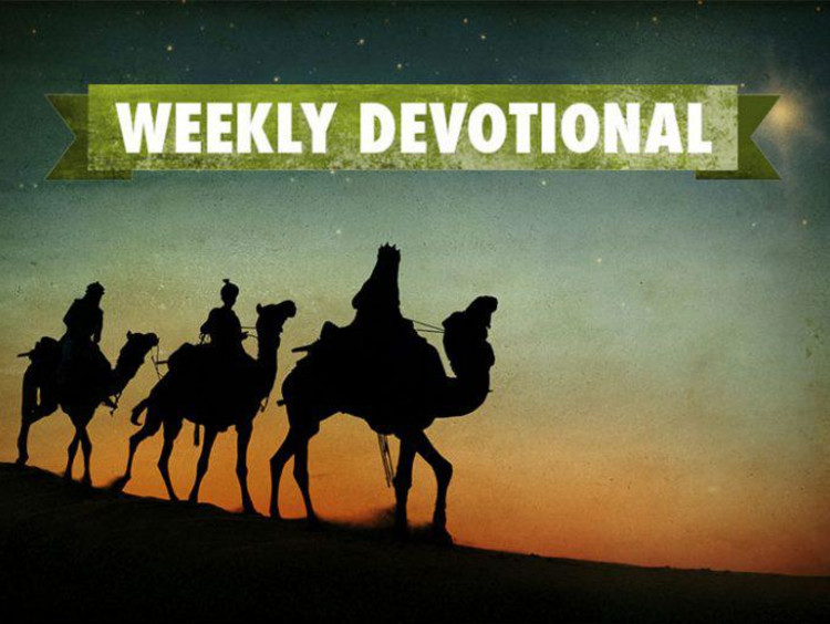 three wiseman riding camels with weekly devotional banner above them