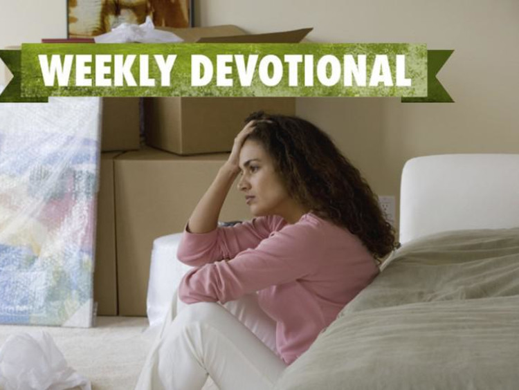 A stressed woman under the Weekly Devotional banner
