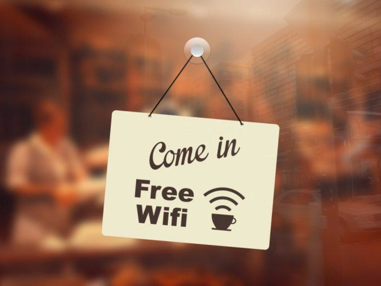 free wifi sign on door