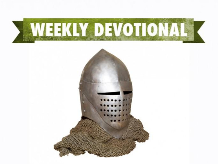 A helmet under the Weekly Devotional banner