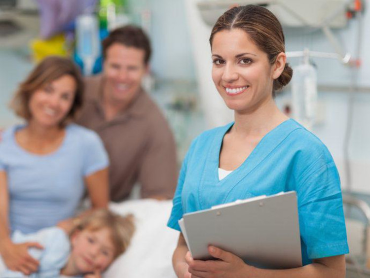 Nursing students in a clinical setting with patients