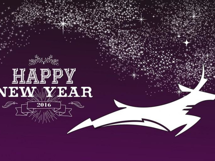 happy new year on purple backgroung with gcu lope logo next to it