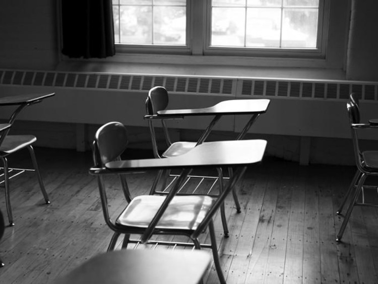 desk in a classroom