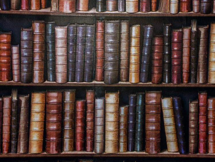 Shelf of antique books