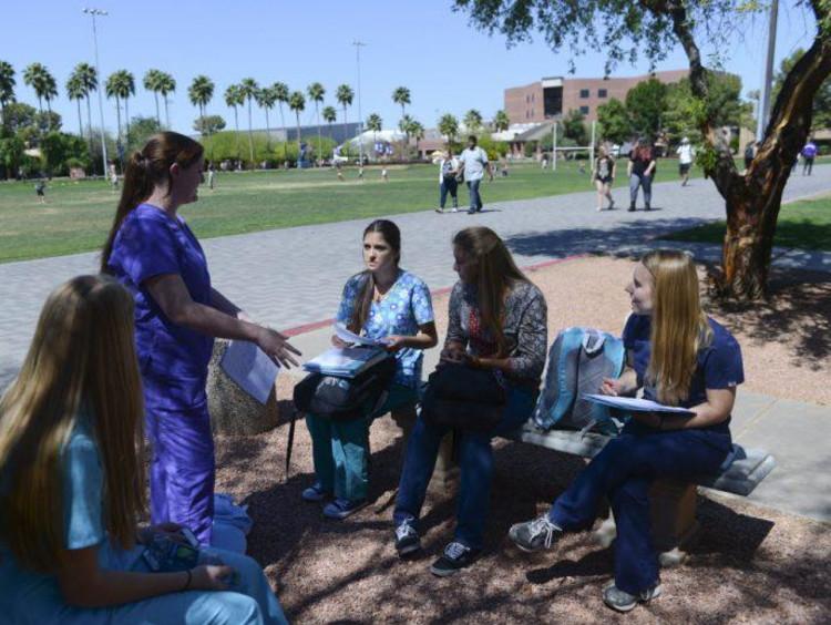 Future health care administrators club meets outside near nursing college