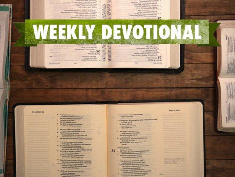 open bibles with weekly devotional banner
