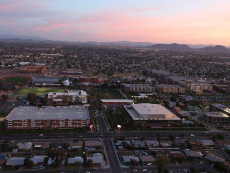 Aerial picture of GCU campus at sunrise